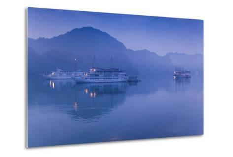 Vietnam, Halong Bay, Tourist Boats, Dawn-Walter Bibikow-Metal Print