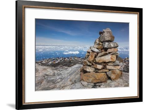 Greenland, Disko Bay, Ilulissat, Rock Cairn-Walter Bibikow-Framed Art Print