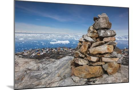 Greenland, Disko Bay, Ilulissat, Rock Cairn-Walter Bibikow-Mounted Photographic Print