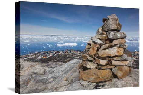 Greenland, Disko Bay, Ilulissat, Rock Cairn-Walter Bibikow-Stretched Canvas Print