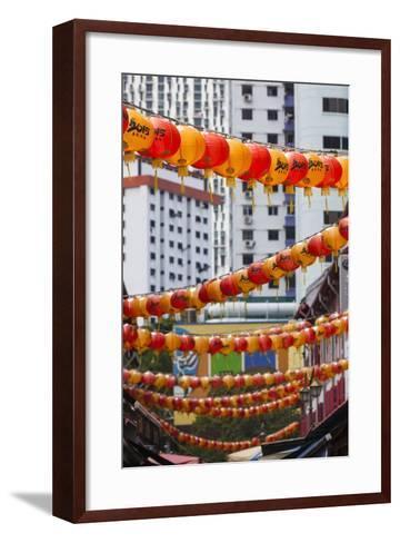 Singapore, Chinatown, Lantern Decorations-Walter Bibikow-Framed Art Print