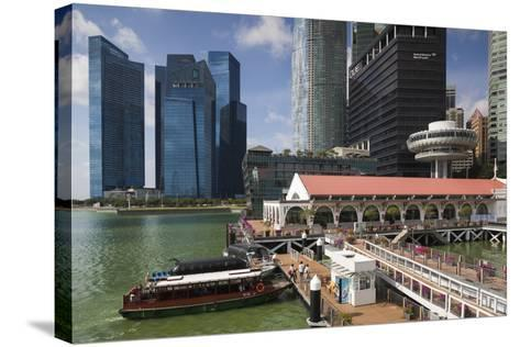 Singapore, City Skyline by the Marina Reservoir-Walter Bibikow-Stretched Canvas Print