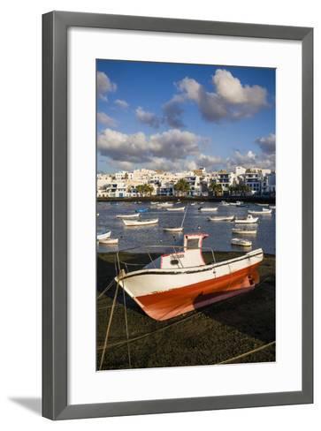 Spain, Canary Islands, Lanzarote, Arecife, Charco De San Gines, Fishing Boats, Dawn-Walter Bibikow-Framed Art Print