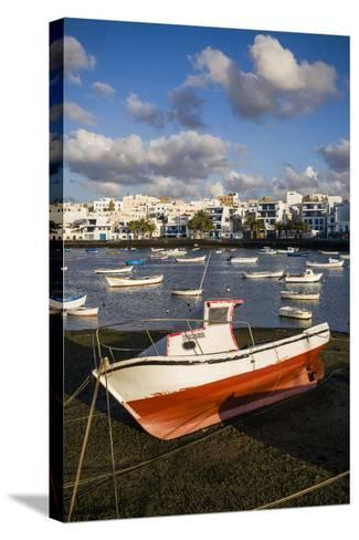 Spain, Canary Islands, Lanzarote, Arecife, Charco De San Gines, Fishing Boats, Dawn-Walter Bibikow-Stretched Canvas Print