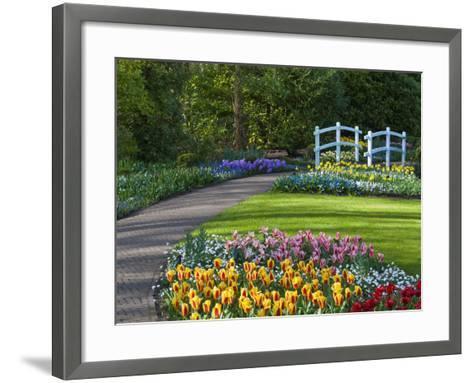 Garden Path Thru Spring Flowerbeds with White Bridge-Anna Miller-Framed Art Print
