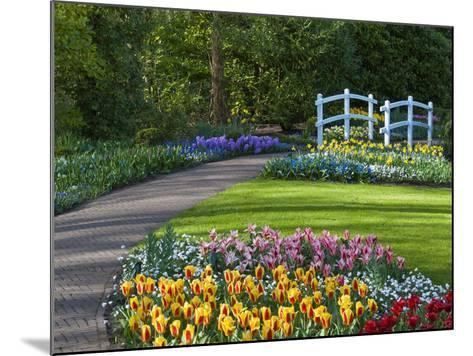 Garden Path Thru Spring Flowerbeds with White Bridge-Anna Miller-Mounted Photographic Print