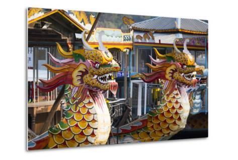 Vietnam, Hue. Dragon Excursion Boats, Perfume River-Walter Bibikow-Metal Print