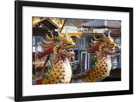 Vietnam, Hue. Dragon Excursion Boats, Perfume River-Walter Bibikow-Framed Art Print