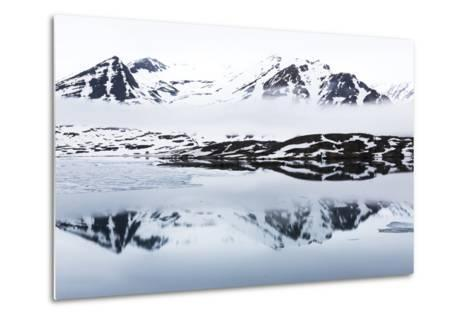 Norway, Svalbard, Monacobreen Glacier, Reflections of Mountains and Glacier-Ellen Goff-Metal Print