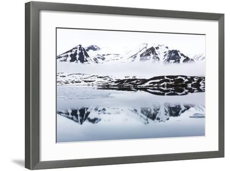 Norway, Svalbard, Monacobreen Glacier, Reflections of Mountains and Glacier-Ellen Goff-Framed Art Print