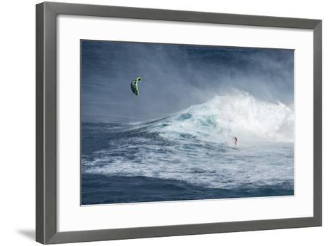 Hawaii, Maui. Niccolo Porcella Windsurfing Monster Waves at Pe'Ahi Jaws, North Shore Maui, Hawaii-Janis Miglavs-Framed Art Print