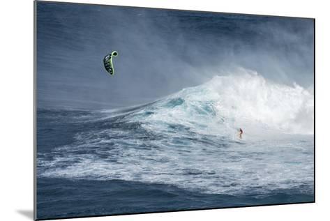 Hawaii, Maui. Niccolo Porcella Windsurfing Monster Waves at Pe'Ahi Jaws, North Shore Maui, Hawaii-Janis Miglavs-Mounted Photographic Print