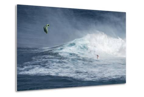 Hawaii, Maui. Niccolo Porcella Windsurfing Monster Waves at Pe'Ahi Jaws, North Shore Maui, Hawaii-Janis Miglavs-Metal Print