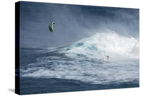 Hawaii, Maui. Niccolo Porcella Windsurfing Monster Waves at Pe'Ahi Jaws, North Shore Maui, Hawaii-Janis Miglavs-Stretched Canvas Print