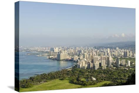 Honolulu from Atop Diamond Head State Monument, Honolulu, Oahu, Hawaii-Michael DeFreitas-Stretched Canvas Print