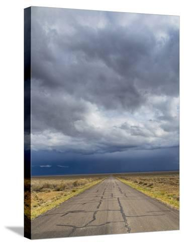 Nevada. Road into Approaching Storm-Jaynes Gallery-Stretched Canvas Print