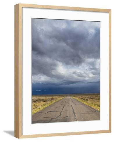 Nevada. Road into Approaching Storm-Jaynes Gallery-Framed Art Print