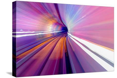Pink Blue Rail Abstract Underground Railway Pudong Bund Shanghai, China. Black Hole of Shanghai-William Perry-Stretched Canvas Print