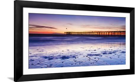 Sunset over Channel Islands and Ventura Pier from San Buenaventura State Beach, Ventura, California-Russ Bishop-Framed Art Print