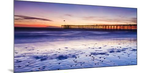 Sunset over Channel Islands and Ventura Pier from San Buenaventura State Beach, Ventura, California-Russ Bishop-Mounted Photographic Print