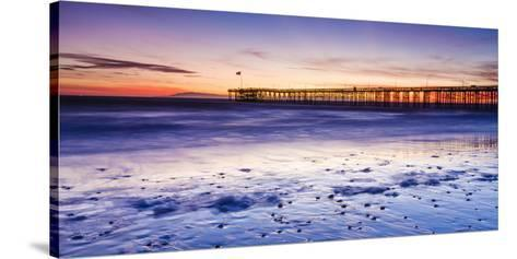 Sunset over Channel Islands and Ventura Pier from San Buenaventura State Beach, Ventura, California-Russ Bishop-Stretched Canvas Print