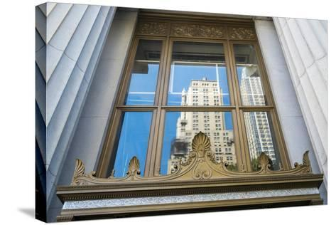 Reflection of a Building in a Window, New York City, New York, Usa-Julien McRoberts-Stretched Canvas Print