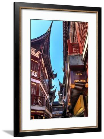 Old Shanghai Houses, Red Roofs, Narrow Ally, Yuyuan Old Town, Shanghai, China-William Perry-Framed Art Print