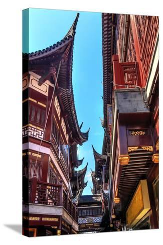 Old Shanghai Houses, Red Roofs, Narrow Ally, Yuyuan Old Town, Shanghai, China-William Perry-Stretched Canvas Print
