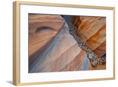 Nevada, Valley of Fire State Park. Abstract Lines and Designs of a Small Canyon on White Dome Trail-Judith Zimmerman-Framed Art Print