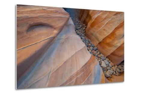 Nevada, Valley of Fire State Park. Abstract Lines and Designs of a Small Canyon on White Dome Trail-Judith Zimmerman-Metal Print