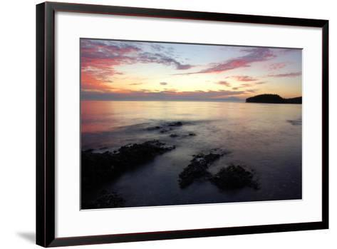 Canada, British Columbia, Cabbage Island. Colorful Sunset Overlooking the Straight of Georgia-Kevin Oke-Framed Art Print