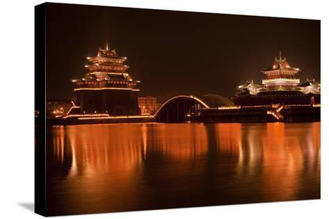 Ancient Temple Night Reflection Bridge Jinming Lake, Kaifeng, China-William Perry-Stretched Canvas Print