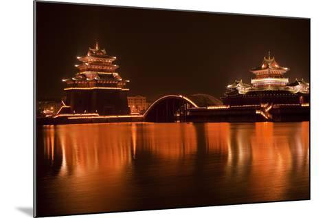 Ancient Temple Night Reflection Bridge Jinming Lake, Kaifeng, China-William Perry-Mounted Photographic Print