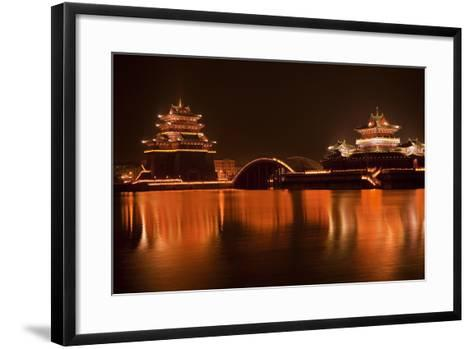 Ancient Temple Night Reflection Bridge Jinming Lake, Kaifeng, China-William Perry-Framed Art Print