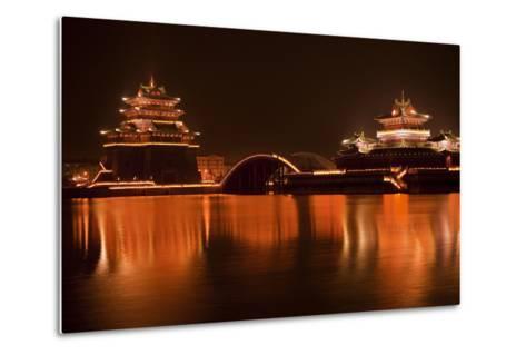 Ancient Temple Night Reflection Bridge Jinming Lake, Kaifeng, China-William Perry-Metal Print