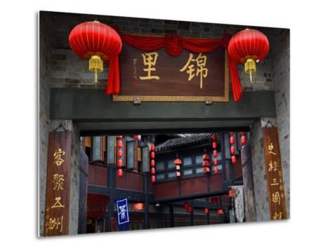 Famous Old Walking Street, Jinli, Chengdu, Sichuan, China. One Says Tea. the Other Says Jinli-William Perry-Metal Print