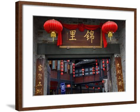 Famous Old Walking Street, Jinli, Chengdu, Sichuan, China. One Says Tea. the Other Says Jinli-William Perry-Framed Art Print