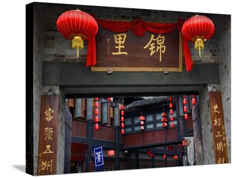 Famous Old Walking Street, Jinli, Chengdu, Sichuan, China. One Says Tea. the Other Says Jinli-William Perry-Stretched Canvas Print