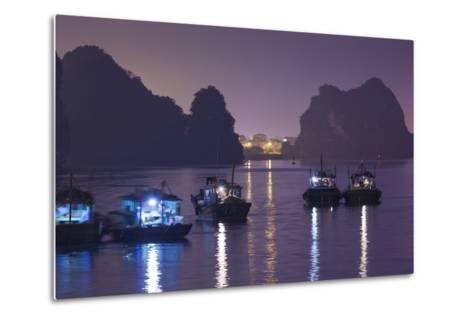 Vietnam, Halong City, Halong Bay Fishing Boats, Dusk-Walter Bibikow-Metal Print