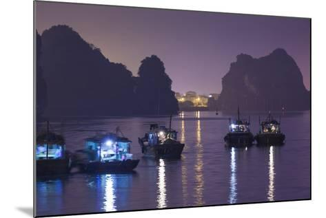 Vietnam, Halong City, Halong Bay Fishing Boats, Dusk-Walter Bibikow-Mounted Photographic Print
