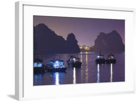 Vietnam, Halong City, Halong Bay Fishing Boats, Dusk-Walter Bibikow-Framed Art Print
