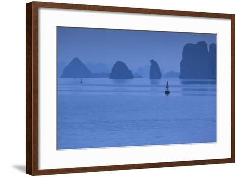 Vietnam, Halong City, Halong Bay Rocks, Dusk-Walter Bibikow-Framed Art Print