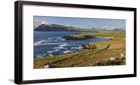 Evening Sunlight over Ballyferriter Bay, Sybil Point and Peaks, Dingle Peninsula-Brian Jannsen-Framed Art Print