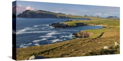 Evening Sunlight over Ballyferriter Bay, Sybil Point and Peaks, Dingle Peninsula-Brian Jannsen-Stretched Canvas Print
