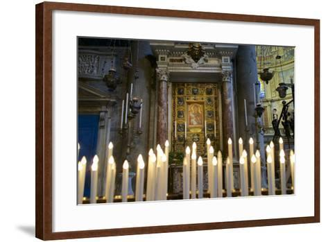 Italy, Tuscany, Pisa, Piazza Dei Miracoli. Inside the Duomo, Electric Candles and Painting-Michele Molinari-Framed Art Print