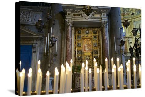 Italy, Tuscany, Pisa, Piazza Dei Miracoli. Inside the Duomo, Electric Candles and Painting-Michele Molinari-Stretched Canvas Print