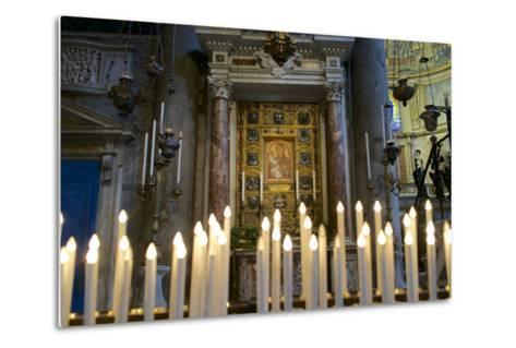 Italy, Tuscany, Pisa, Piazza Dei Miracoli. Inside the Duomo, Electric Candles and Painting-Michele Molinari-Metal Print