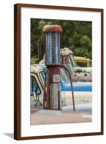 Old Trucks and Antique Gas Pump, Hennigar's Gas Station, Palouse Region of Eastern Washington-Adam Jones-Framed Art Print