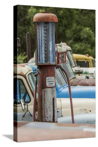 Old Trucks and Antique Gas Pump, Hennigar's Gas Station, Palouse Region of Eastern Washington-Adam Jones-Stretched Canvas Print