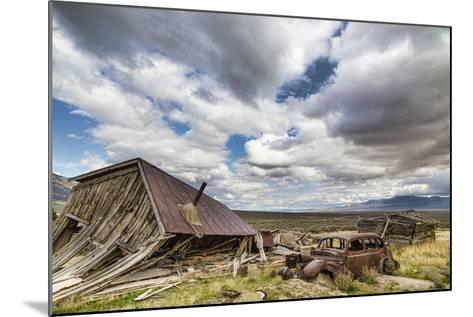Nevada, Cherry Creek. Collapsed Building and Rusted Vintage Car-Jaynes Gallery-Mounted Photographic Print